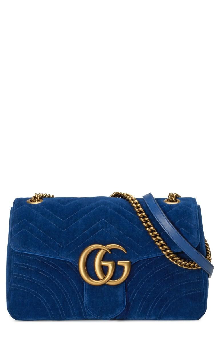 Gucci Medium GG Marmont 2.0 Matelassé Velvet Shoulder Bag