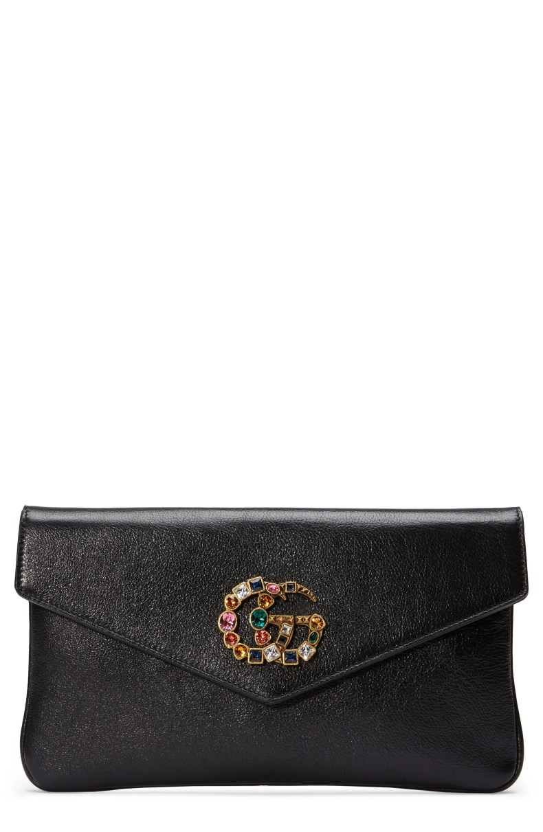 Gucci Broadway Crystal GG Leather Envelope Clutch