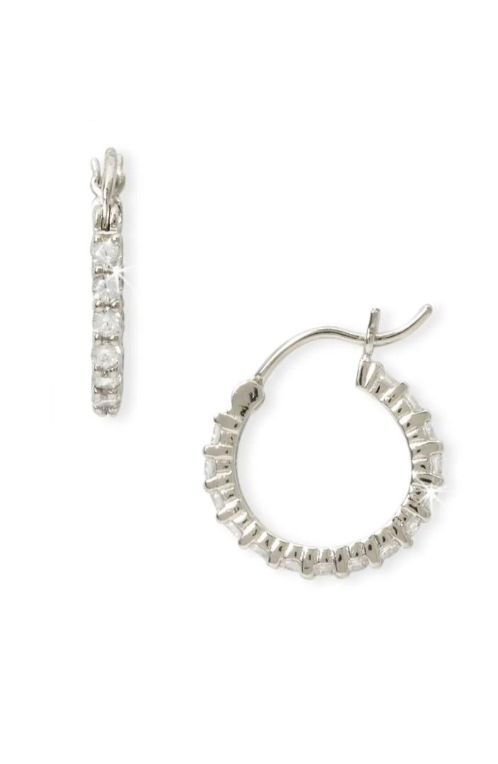 Nordstrom Cubic Zirconia Thin Hoop Earrings