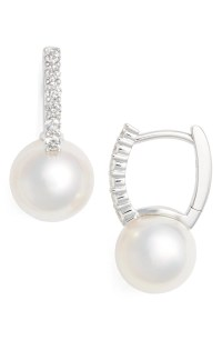 Mikimoto Diamond & Akoya Cultured Pearl Earrings | Nordstrom