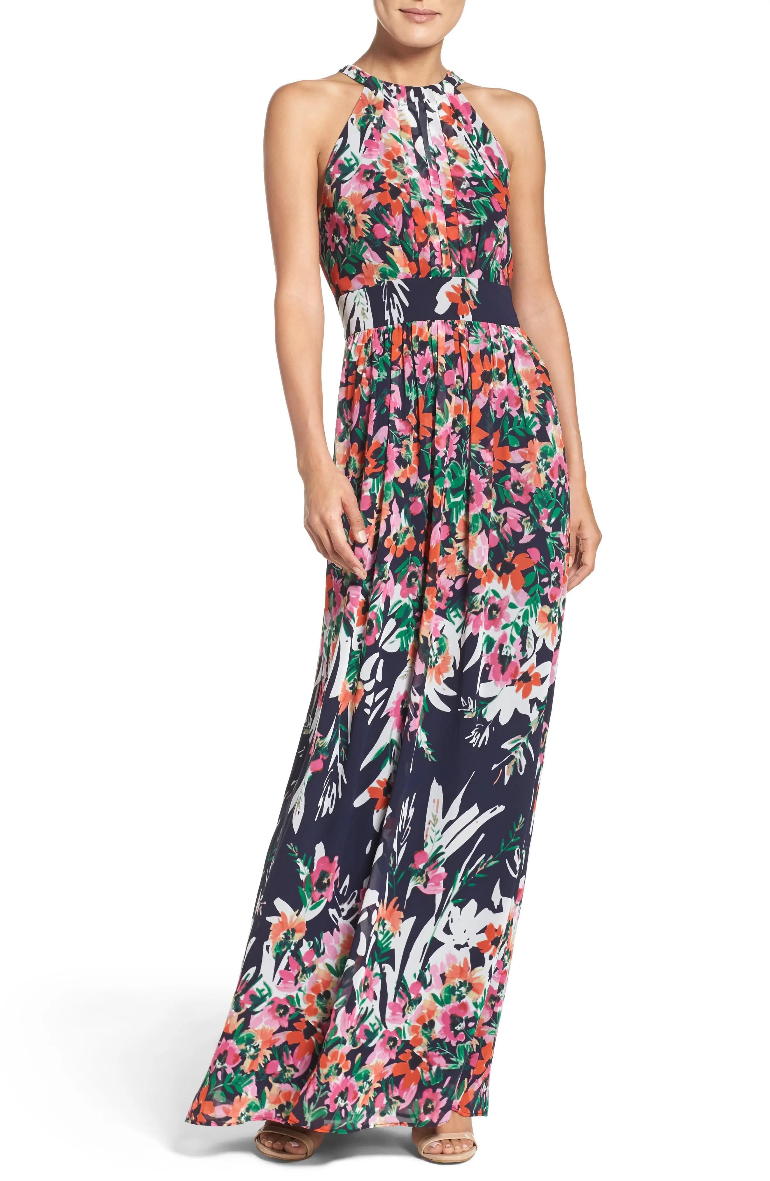 Eliza  floral print chiffon halter maxi dress also women   dresses nordstrom rh shoprdstrom