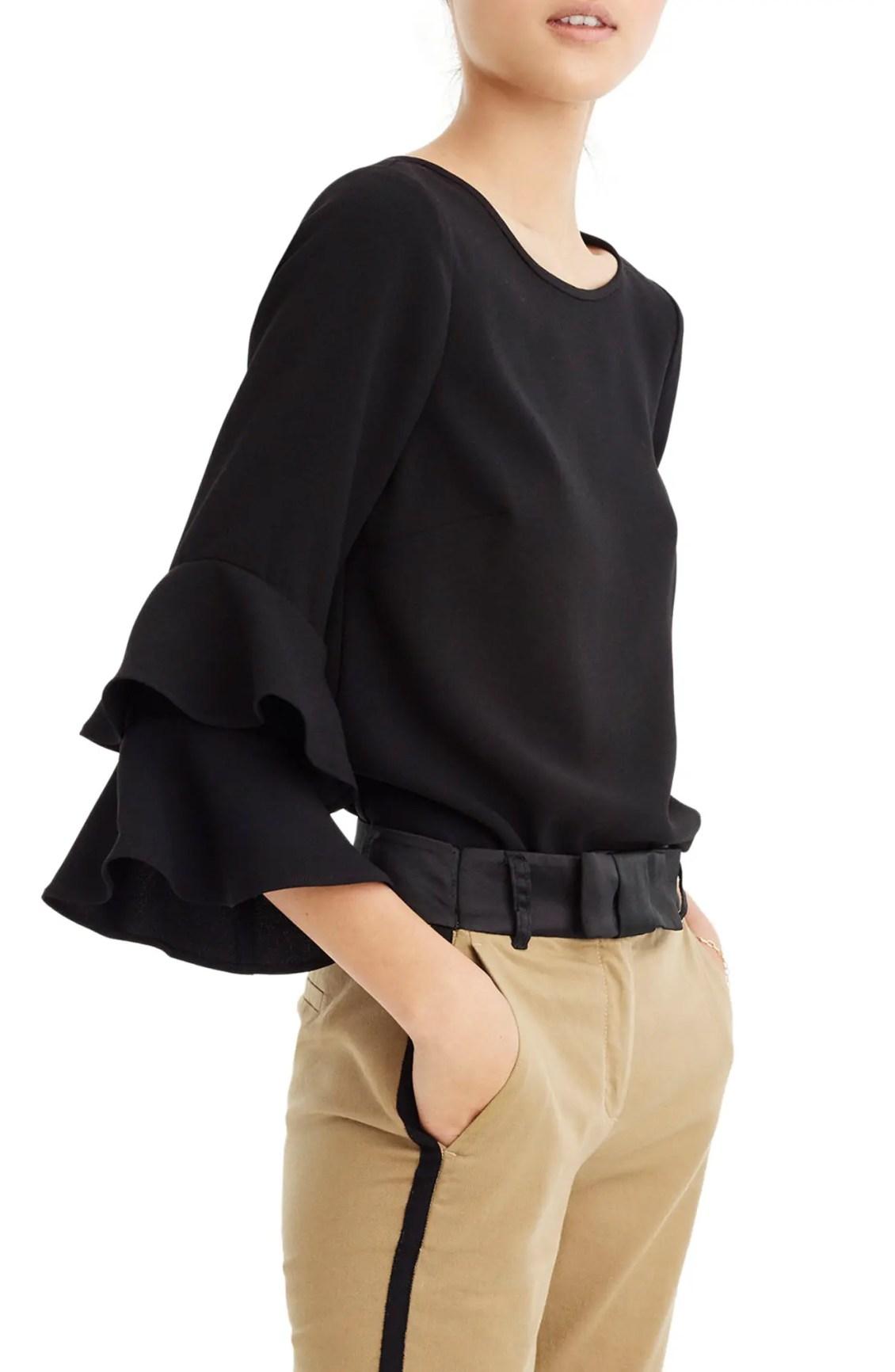 Main Image - J.Crew Lana Tiered Bell Sleeve Top (Regular & Petite)