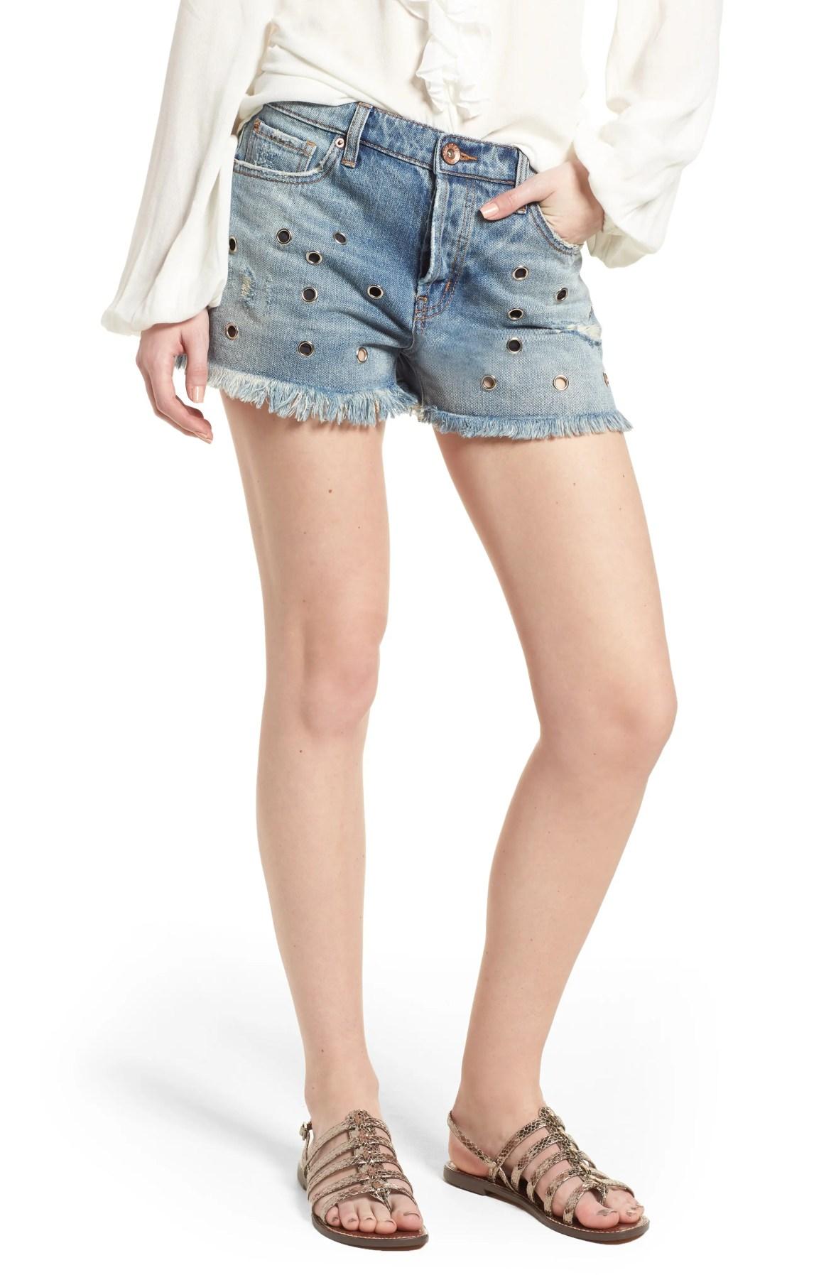 Grommet Detail Denim Shorts