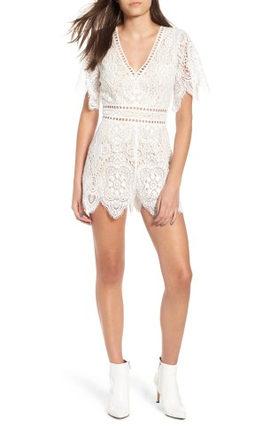 Lace Romper,                         Main,                         color, Ivory/ Nude