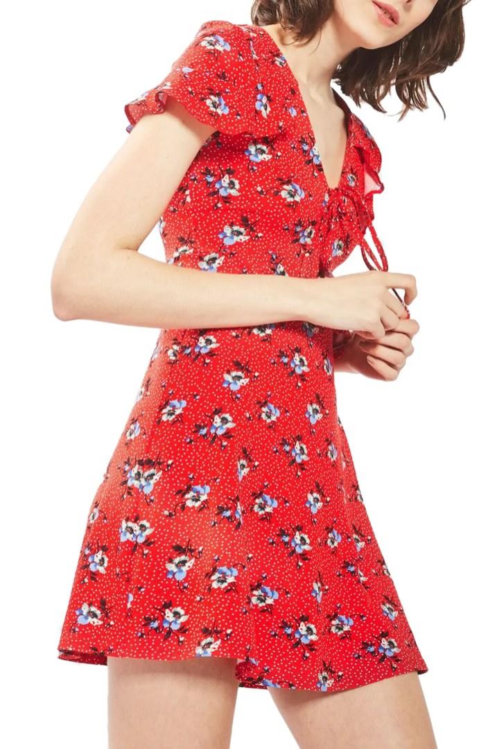 Topshop Floral Spot Tea Dress | Nordstrom