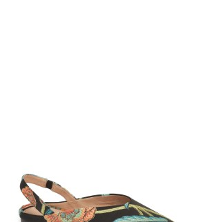 Sadie Slingback Flat, Main, color, Coral Embroidered Fabric
