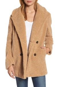 kensie Teddy Bear Notch Collar Faux Fur Coat | Nordstrom