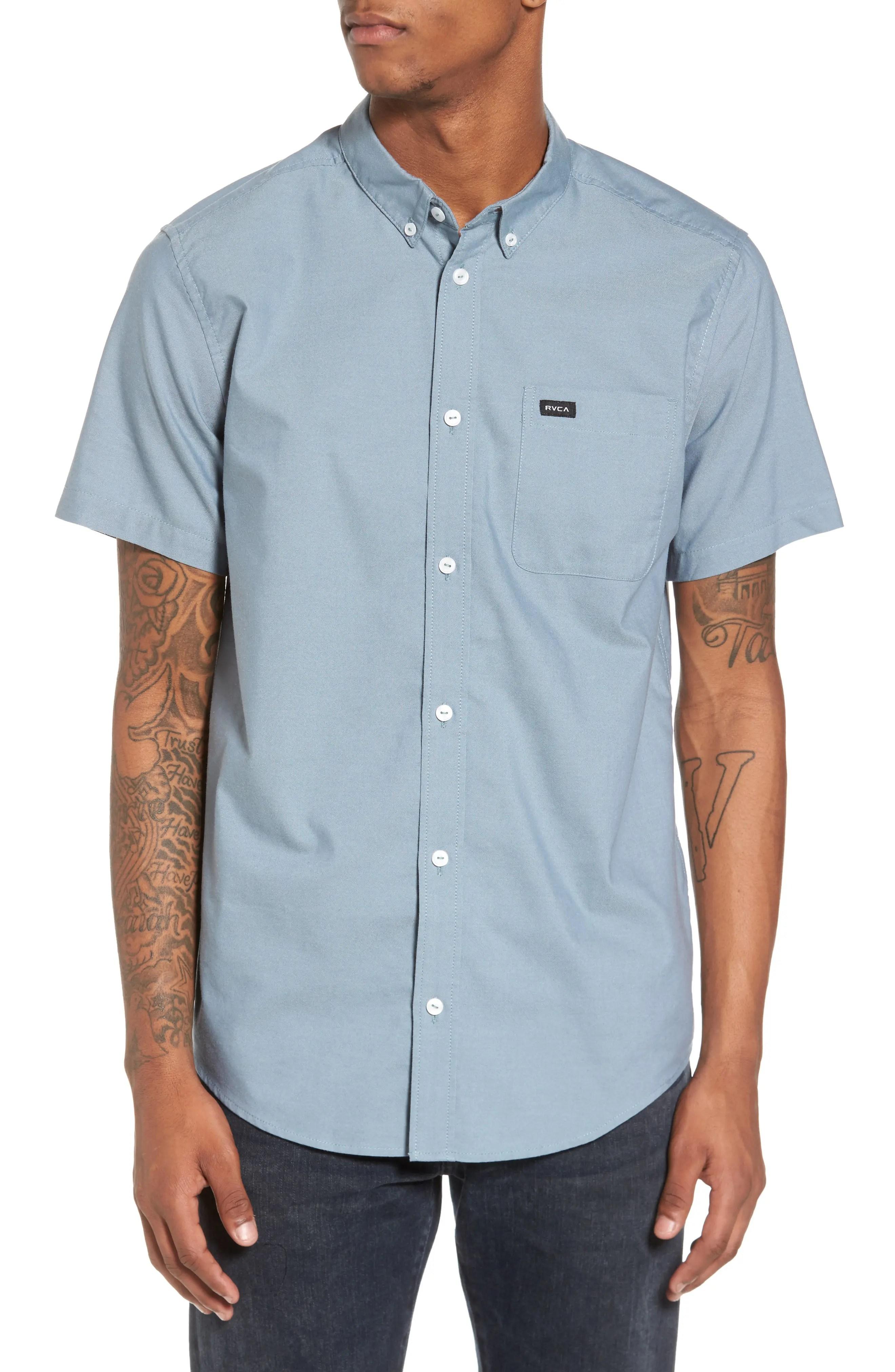 Rvca That Ll Do Slim Fit Short Sleeve Oxford Shirt