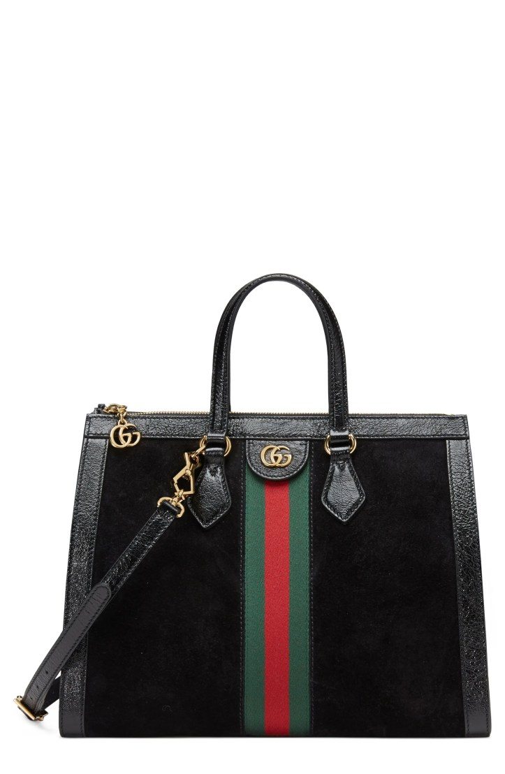 Gucci Medium Ophidia House Web Suede Satchel