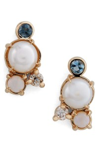 MOCIUN Pearl, Aquamarine, Opal & Diamond Earrings