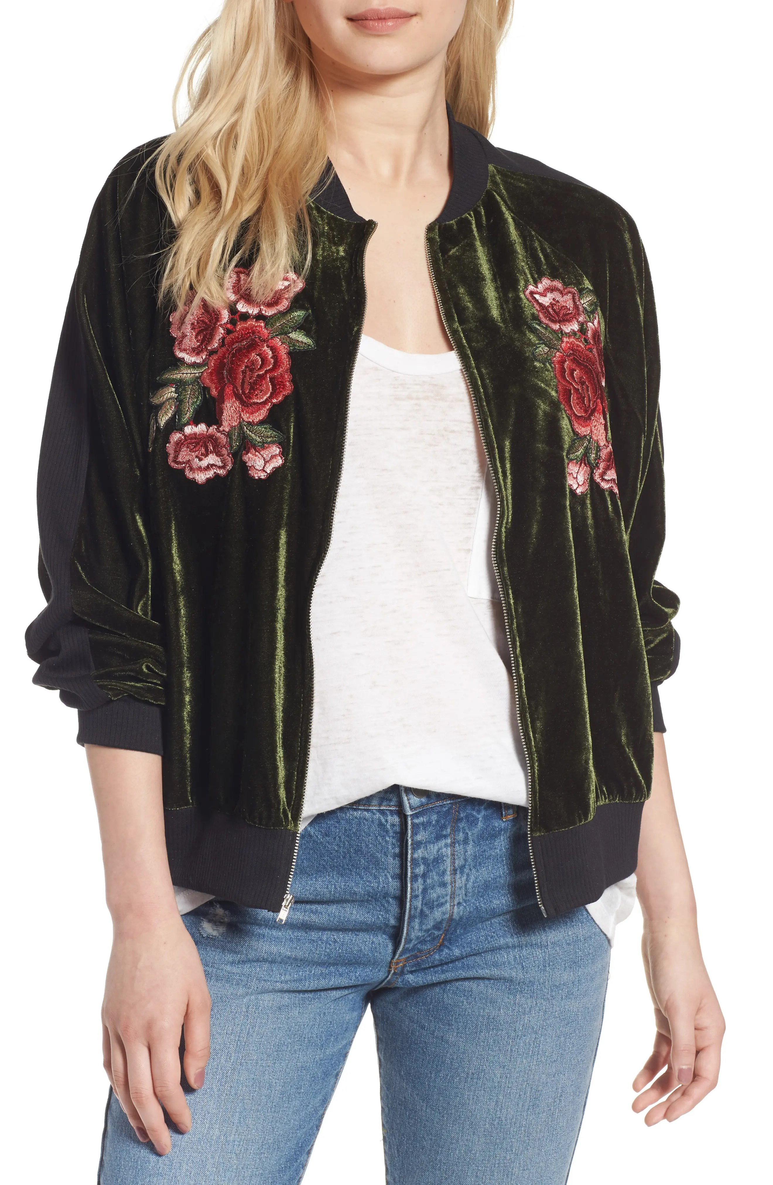 Main Image - BP. Floral Embroidered Bomber