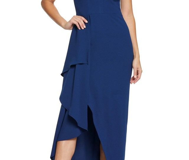 Dress The Population Alma Cap Sleeve Waterfall Crepe Gown
