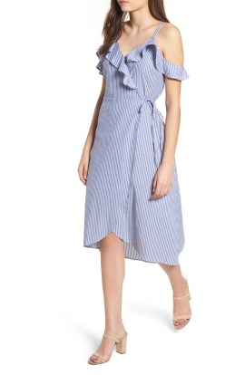 Main Image - BP. Stripe Ruffle Wrap Dress