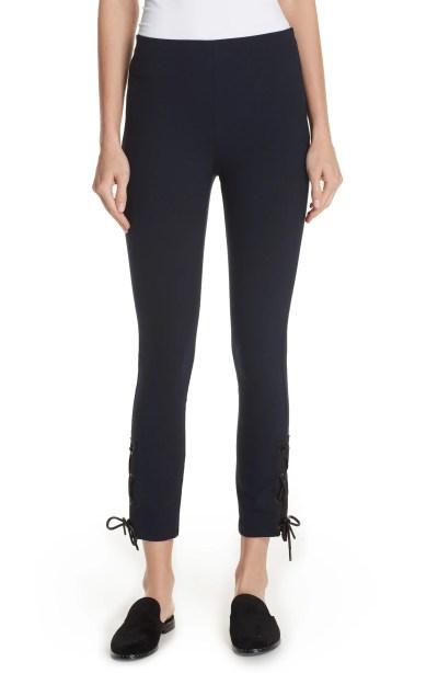 Simone Lace-Up Pants, Main, color, Navy