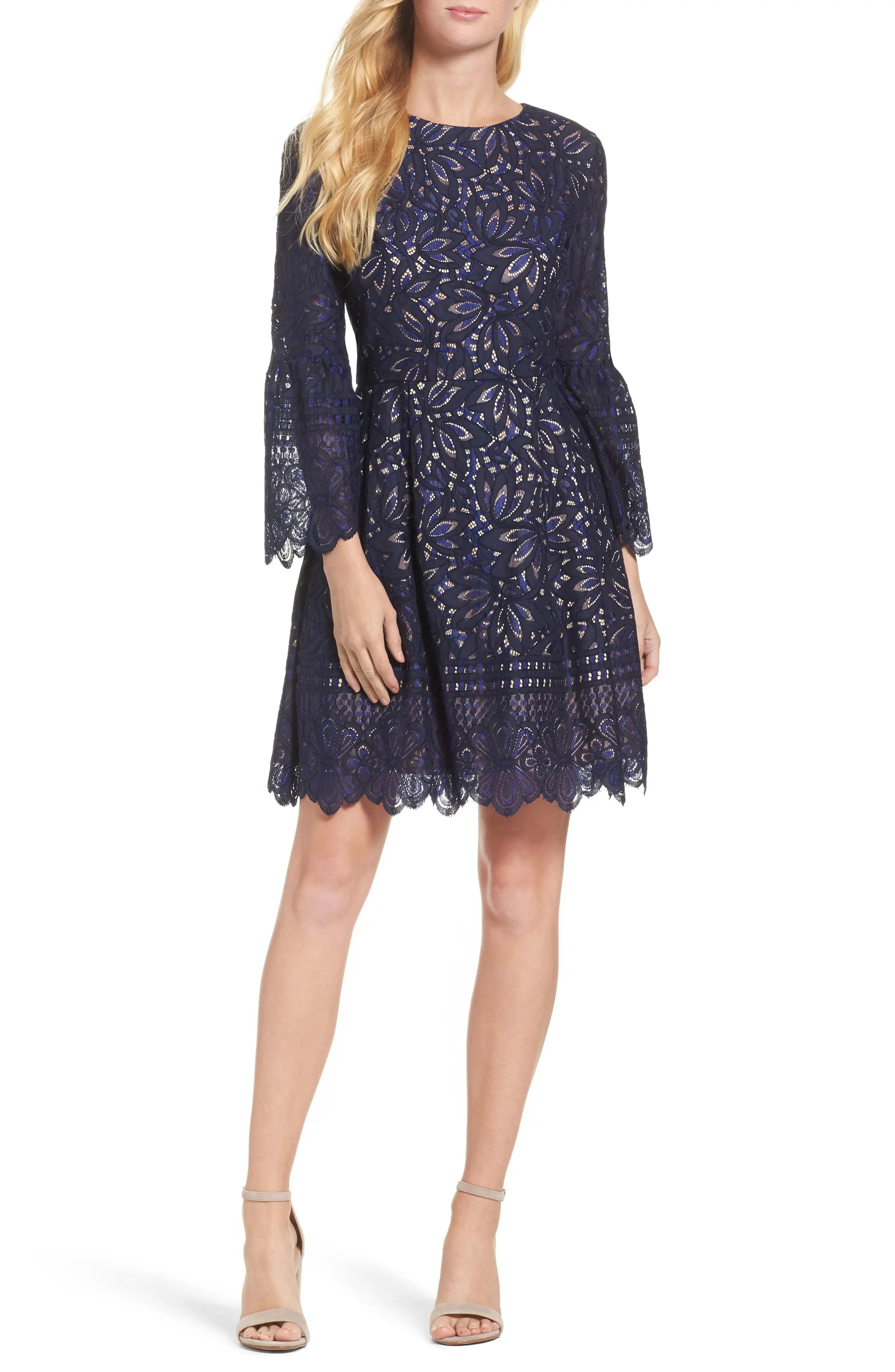 Eliza  lace bell sleeve fit  flare dress regular petite also women  dresses nordstrom rh shoprdstrom