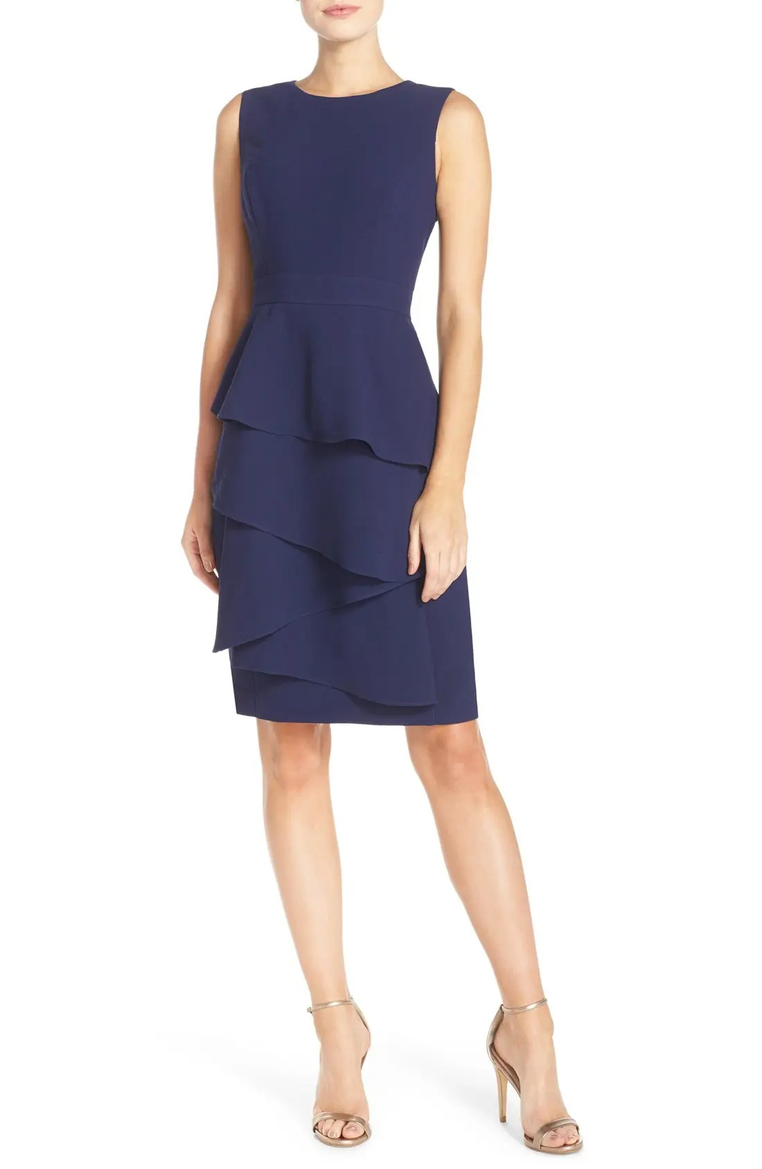 Eliza  ella ruffle cascade crepe sheath dress regular  petite also women  dresses nordstrom rh shoprdstrom