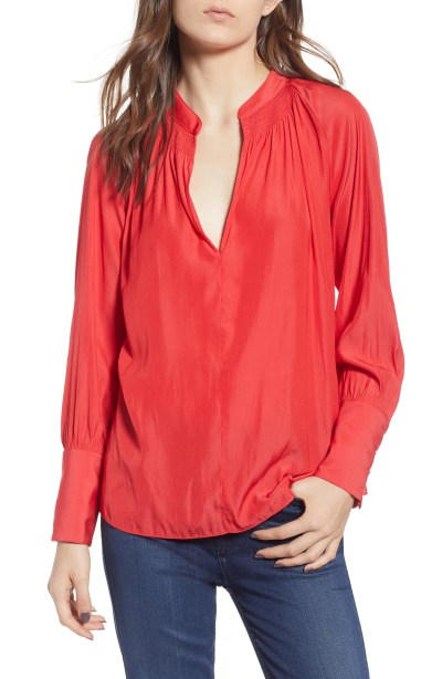 Smocked Neck Top, Main, color, Red Poinsettia