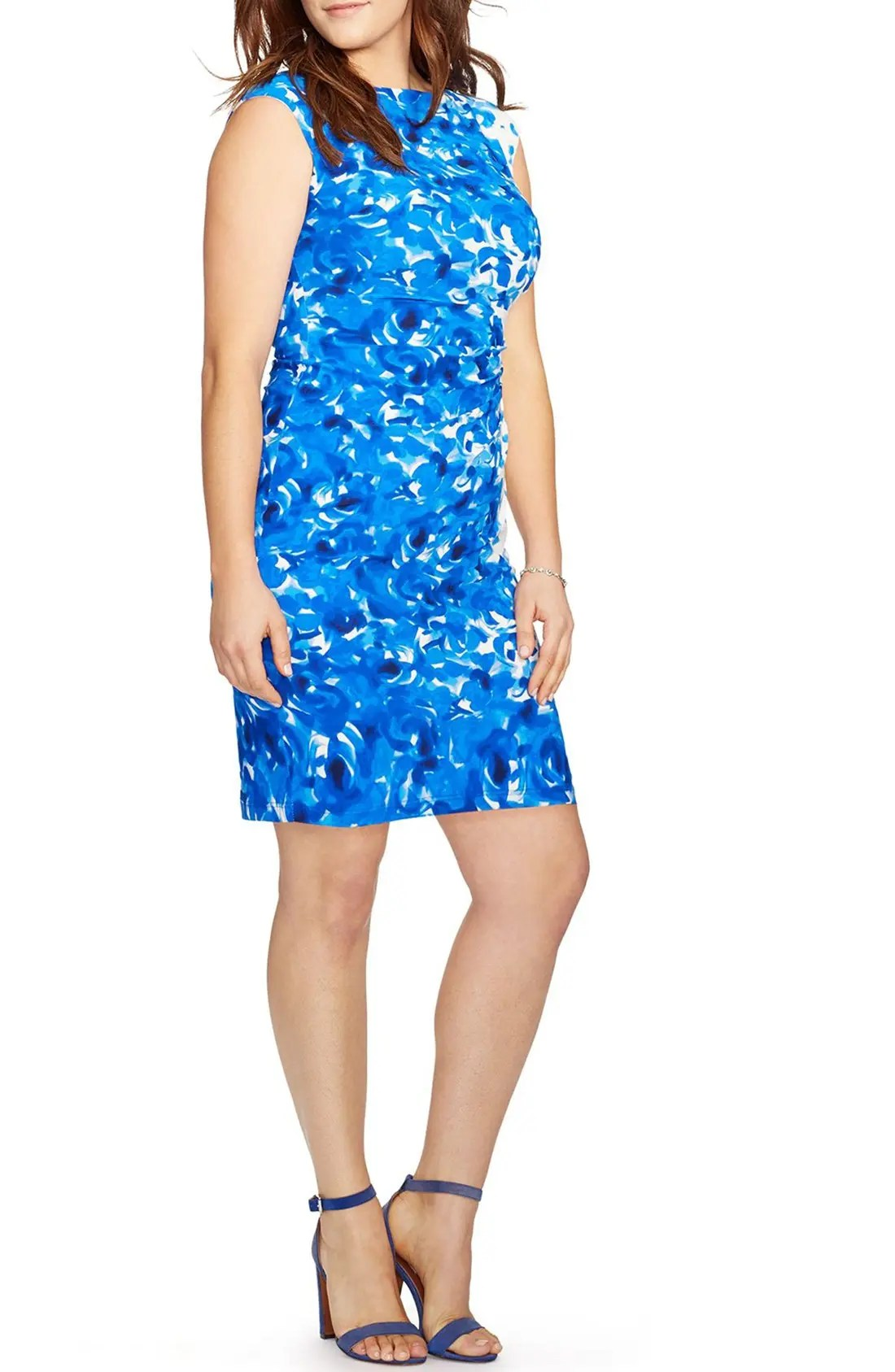 Main Image - Lauren Ralph Lauren Floral Print Bateau Neck Jersey Sheath Dress (Plus Size)
