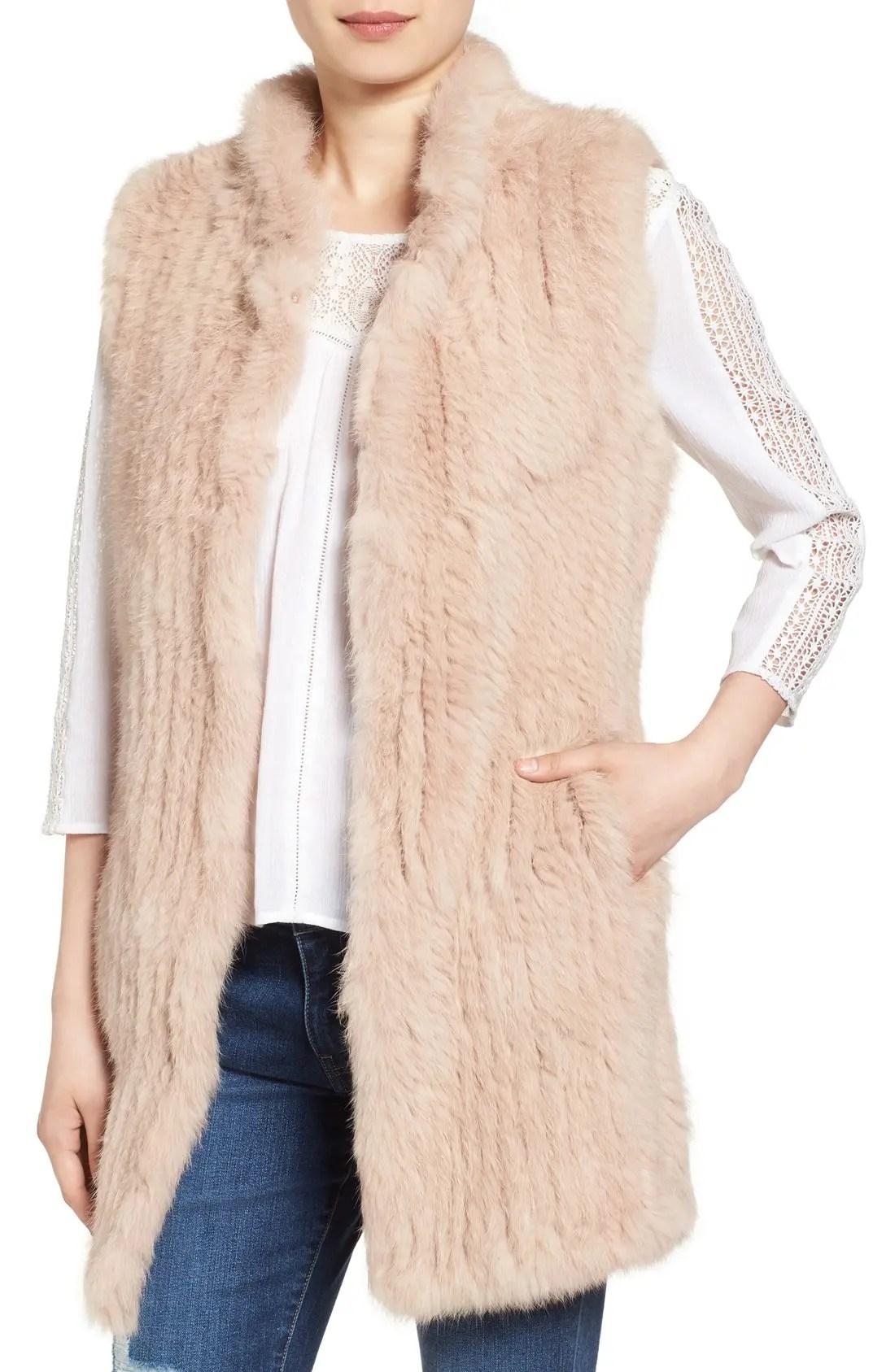 Main Image - Love Token Long Genuine Rabbit Fur Vest