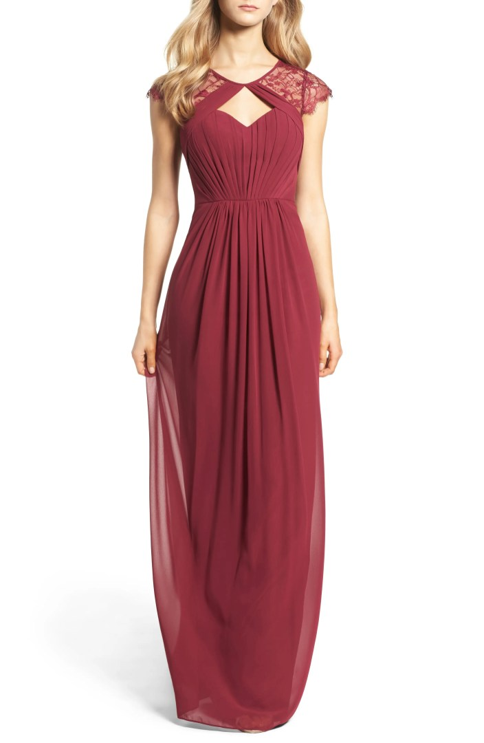 Hayley Paige Occasions Cap Sleeve Lace  Chiffon Gown  Nordstrom