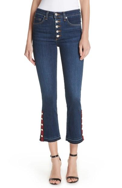 Button Hem Baby Boot Jeans, Main, color, Dark Sea