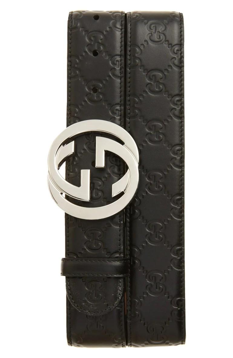 Gucci Logo Embossed Leather Belt