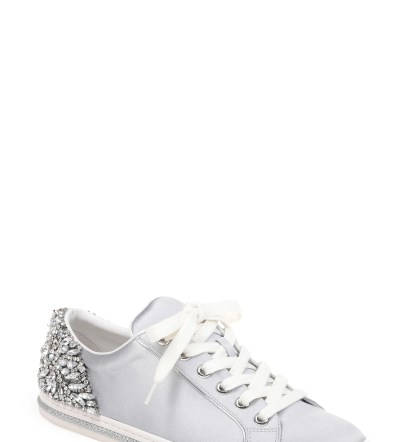 Shirley Crystal Embellished Sneaker, Main, color, Silver Satin