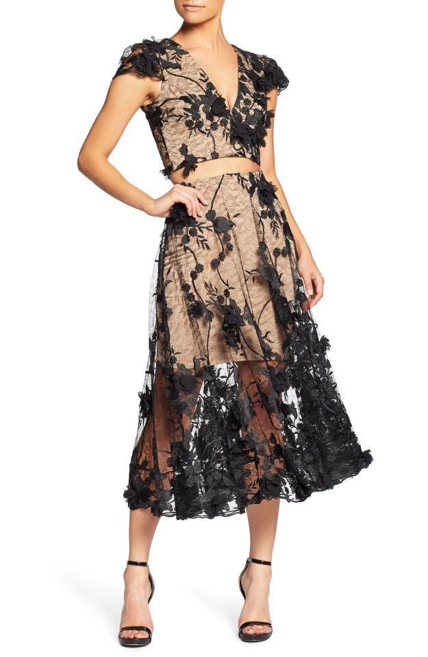 Main Image - Dress the Population Juliana 3D Lace Two-Piece Dress