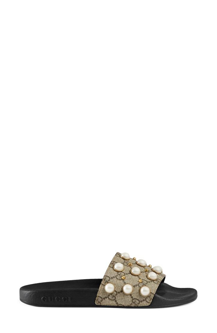 Gucci Pursuit Imitation Pearl Embellished Slide Sandal (Women)