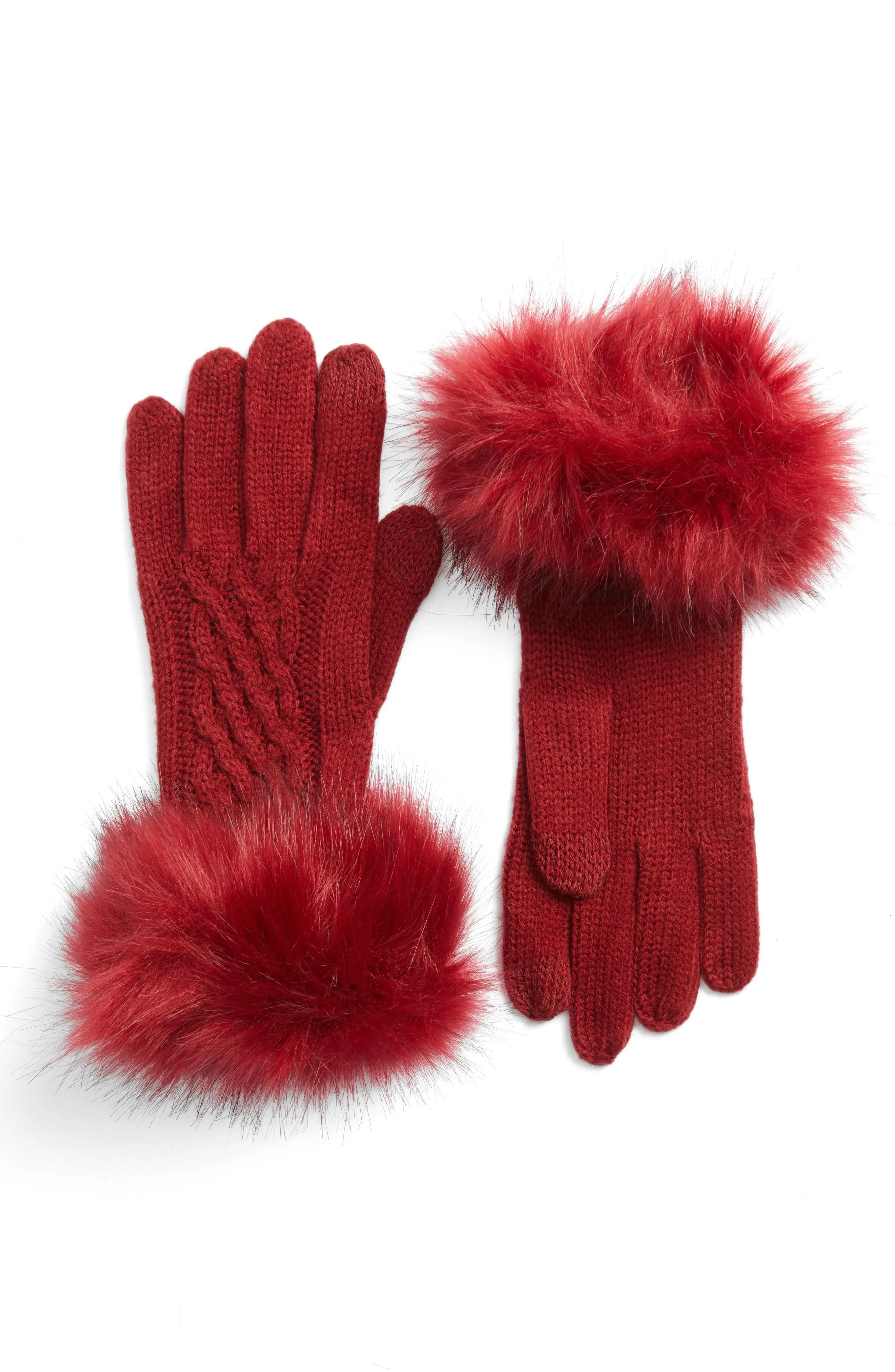 CC Faux Fur Trim Knit Tech Gloves