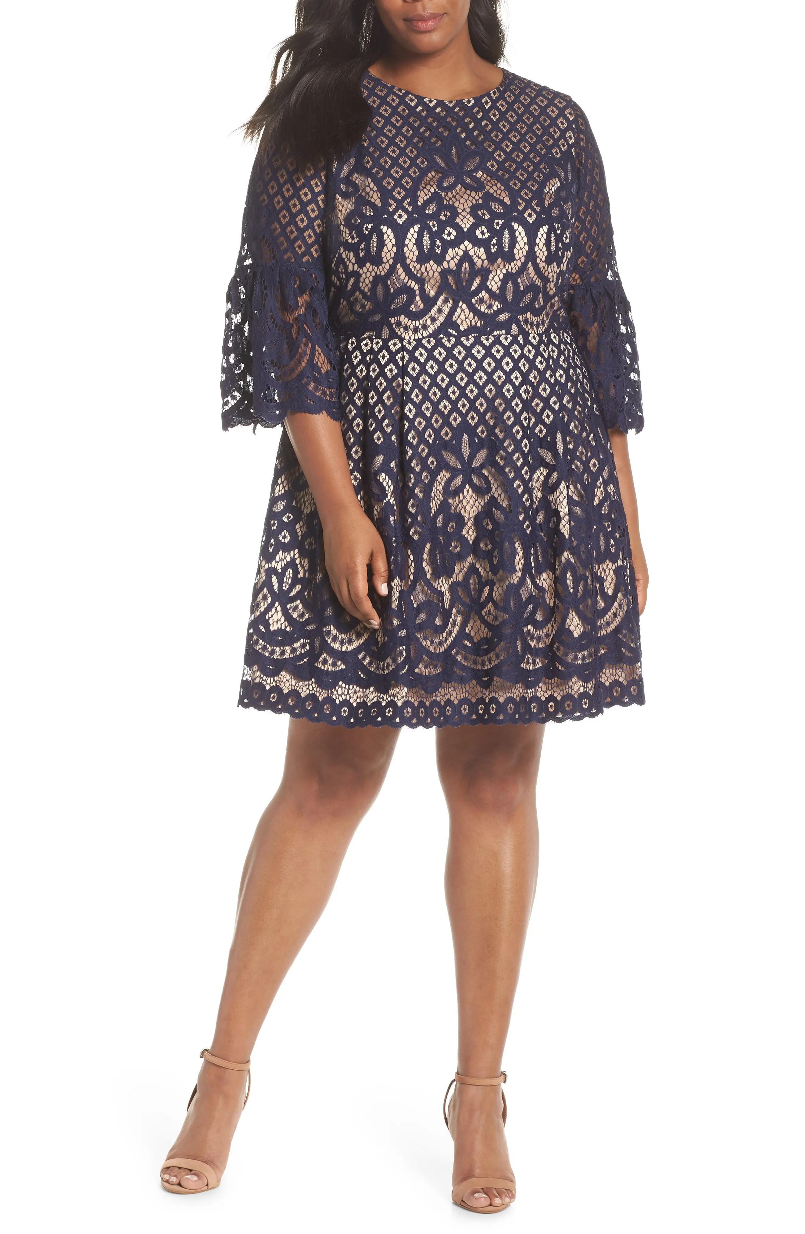 Eliza  bell sleeve lace fit  flare dress plus size also dresses nordstrom rh shoprdstrom