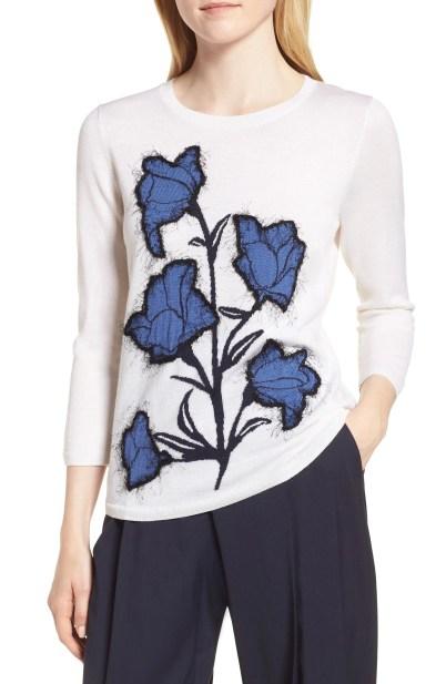 Eyelash Graphic Wool & Silk Sweater, Main, color, Blue Marlin Henrietta Floral