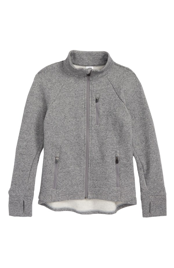 High/Low Track Jacket, Main, color, Grey Heather