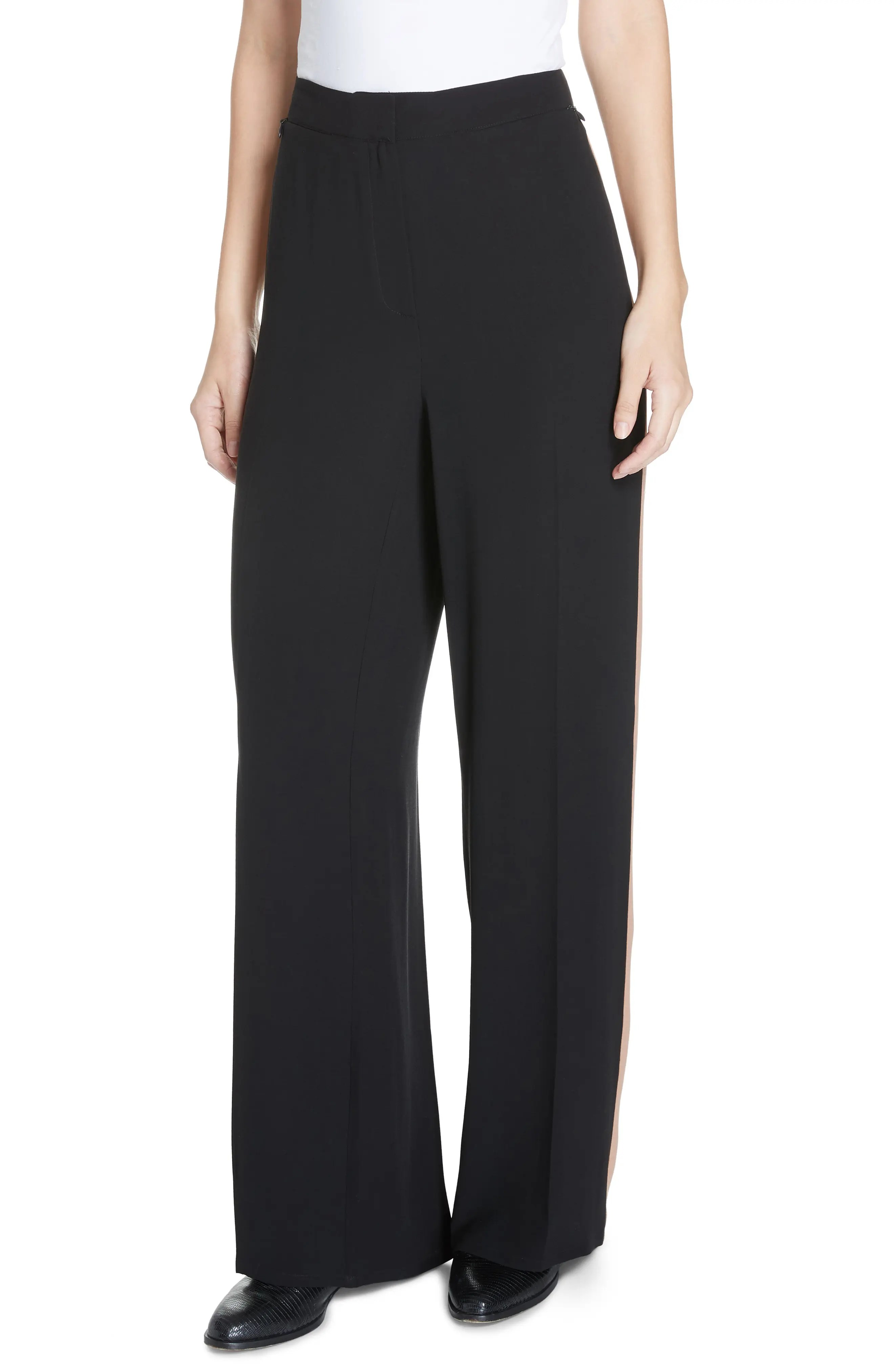 Eileen fisher high waist side stripe silk crepe pants regular  plus size also women  petite clothing nordstrom rh shoprdstrom