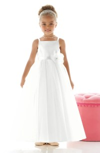 Dessy Collection 'Rose' Satin & Tulle Flower Girl Dress ...