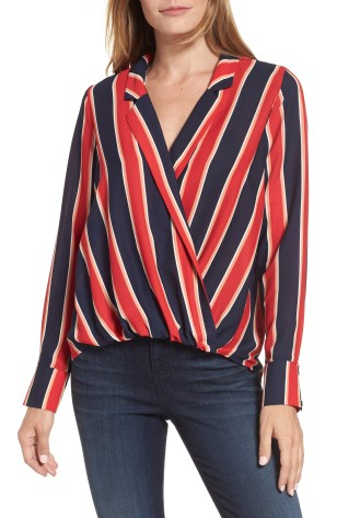 Surplice Drape Front Blouse, Main, color, Blue/ White/ Red Stripe