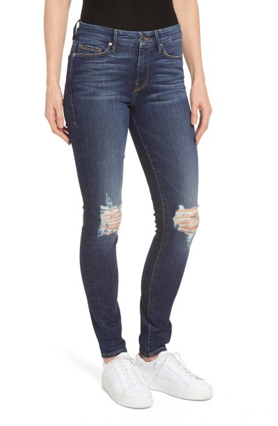 Main Image - Good American Good Legs Ripped Skinny Jeans (Blue 081) (Extended Sizes)