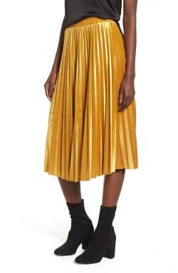 Main Image - Chelsea28 Pleated Velvet Skirt