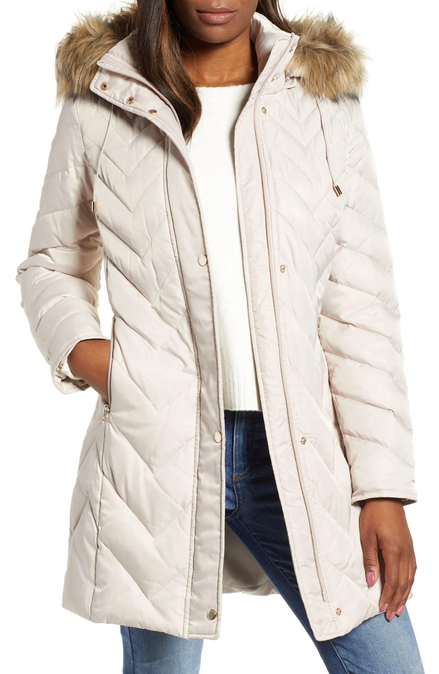 Satin Fur Trimmed Coat