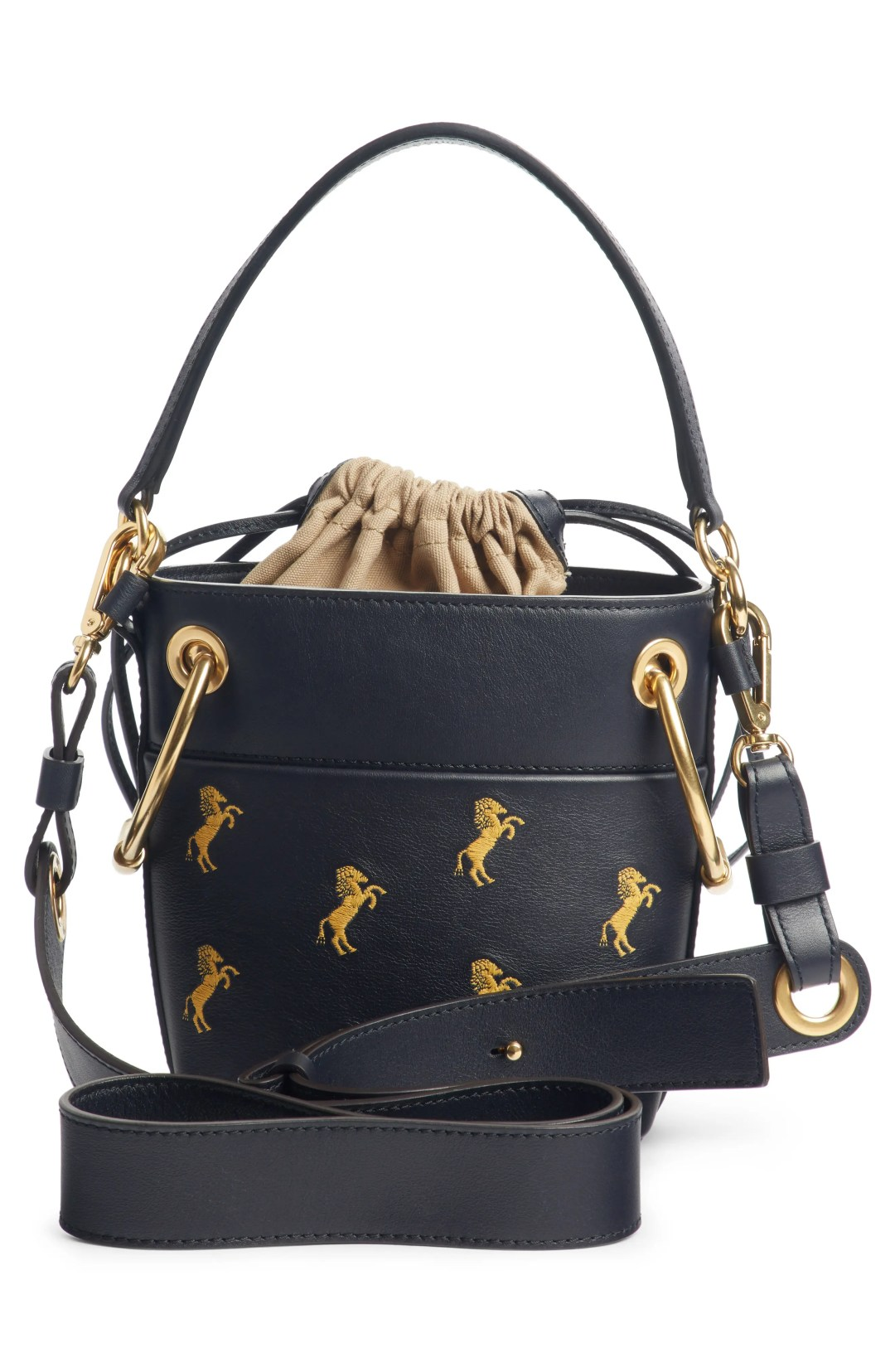 5f8c389b80e Chloé Roy Mini Embroidered Leather Bucket Bag