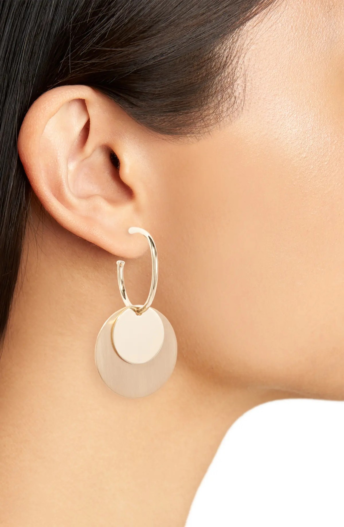 SOMETHING NAVY Double Disc Drop Earrings, Alternate, color, GOLD