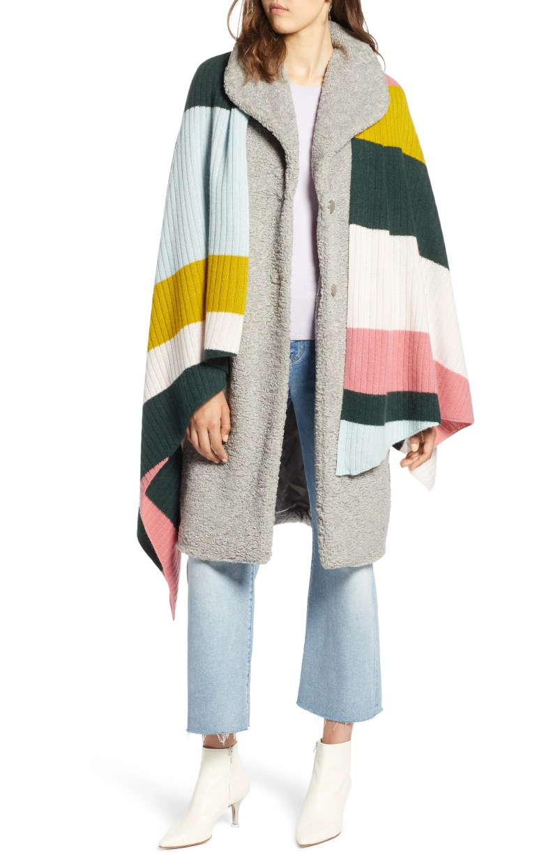 x Atlantic-Pacific Stripe Cashmere Wrap, Main, color, PINK MULTI