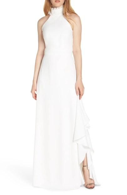 Lace Neck Crepe Evening Dress,                         Main,                         color, WHITE