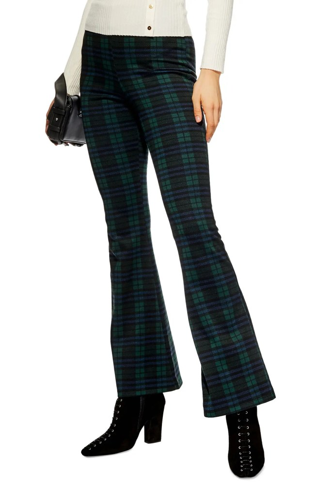 TOPSHOP Plaid Flare Pants, Main, color, NAVY BLUE MULTI