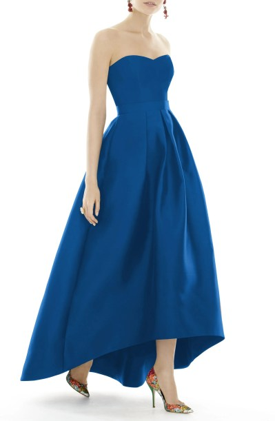 Strapless High/Low Sateen Twill Gown,                         Main,                         color, ROYALTY