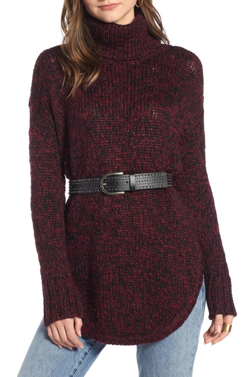 Treasure&Bond Turtleneck Sweater, Main, color, BURGUNDY FIELD COMBO