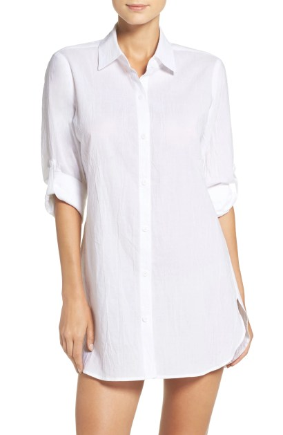 Boyfriend Shirt Cover-Up, Main, color, WHITE/ WHITE