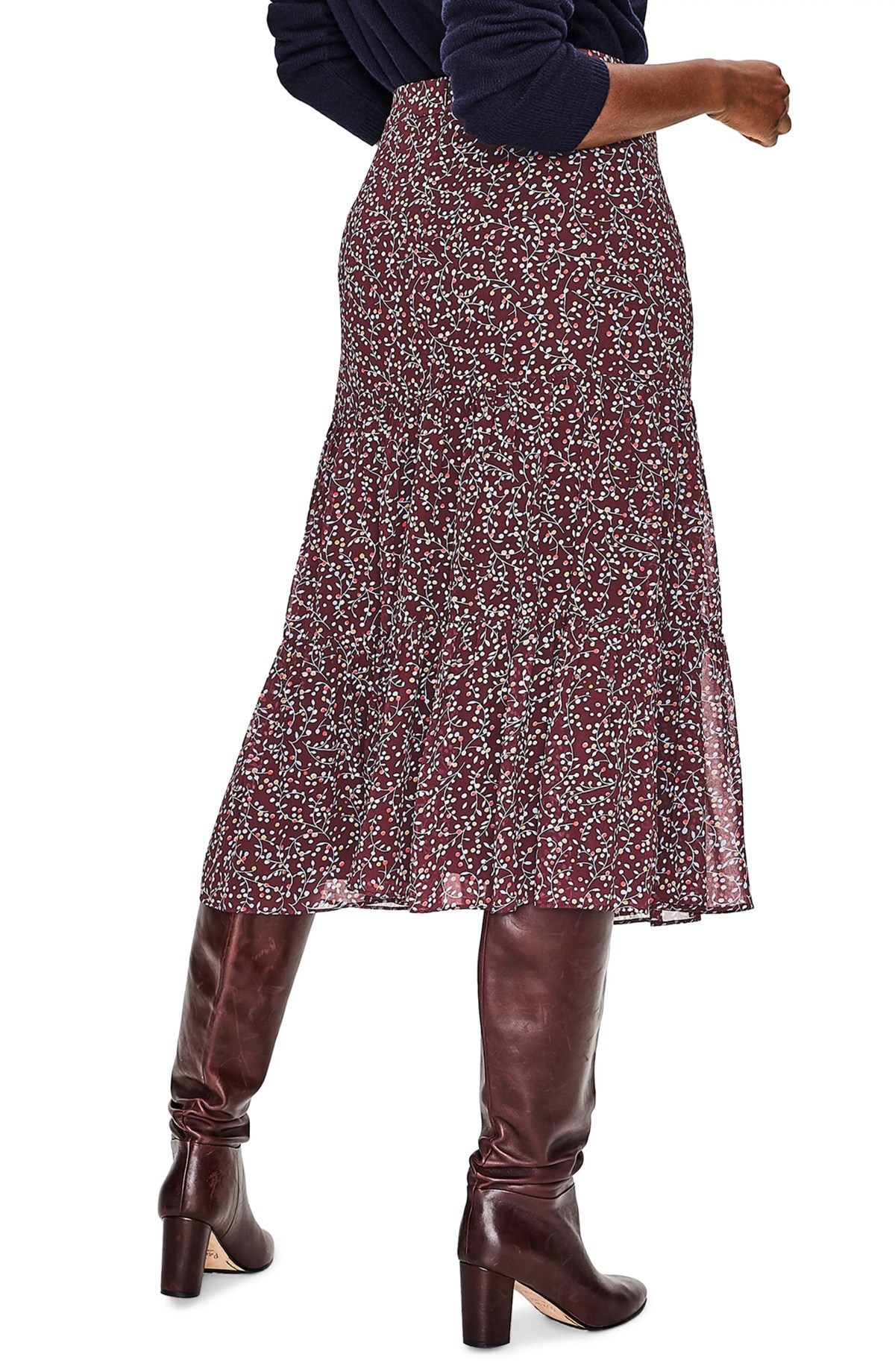 Frome Midi Skirt,                         Alternate,                         color, DARK BURGUNDY TWINKLE VINE