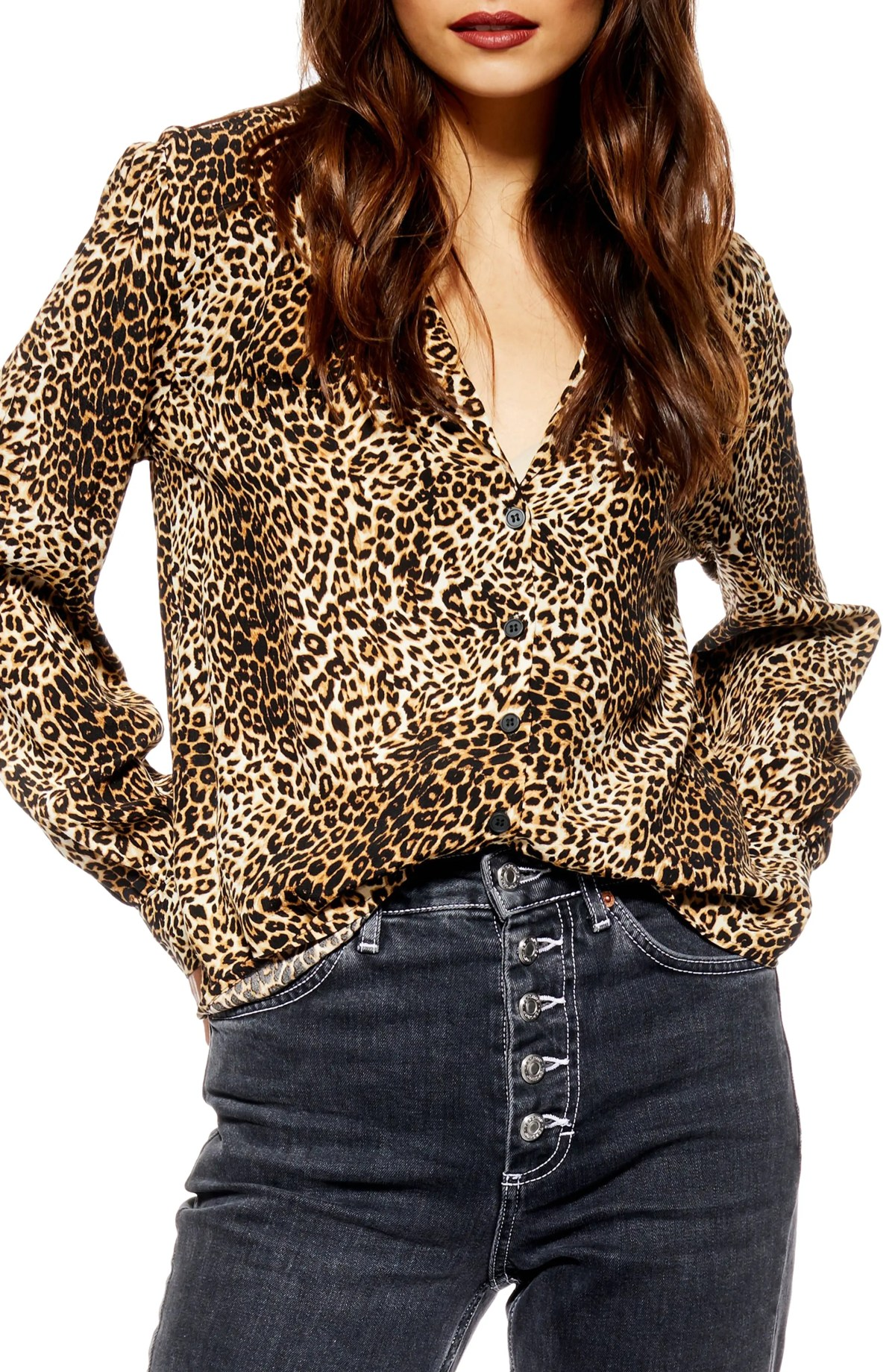 Jessica Print Shirt, Main, color, LEOPARD MULTI