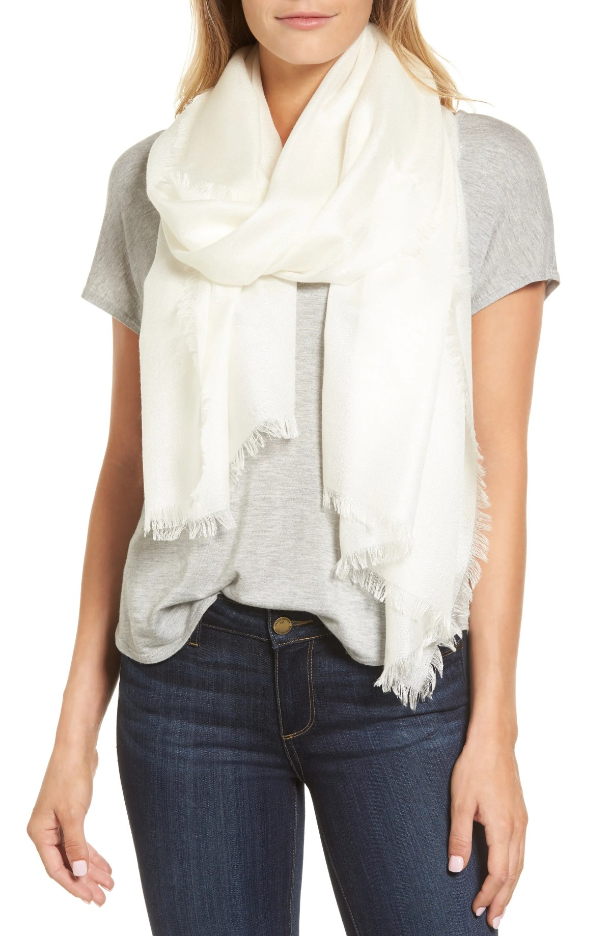 NORDSTROM Cashmere & Silk Wrap, Main, color, IVORY